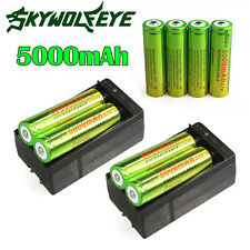 8PCS Rechargeable 18650 3.7V 5000mAh Li-ion Batteries + 2xDual Charger for Torch