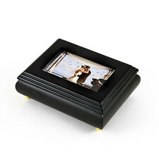 Amazing Black Lacquered Photo Frame Music Jewelry Box - Music Box Attic Reg $95