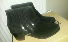 ♡ NEW ALL SAINTS BLACK NUBUCK LEATHER WESTERN STYLE CHELSEA ANKLE BOOTS SIZE 6 ♡