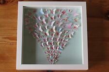 Handmade wall hanging picture BUTTERFLIES IN FLIGHT GREEN box frame perfect gift