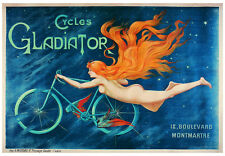 VINTAGE BICYCLE POSTER - CYCLES GLADIATOR 1895 28x40 Nude Mermaid Girl Art Print