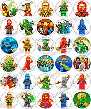 30 x NinjaGo Party Edible Rice Wafer Paper Cupcake Toppers