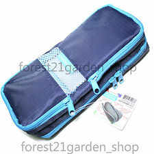 Morning Glory HaHa Pen Pencils Case, Multi Pouch,Cosmetic Make Up Bag -  Blue