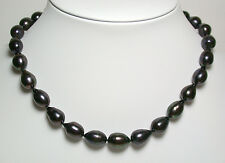 AA++ 9-10mm peacock black freshwater pearl & sterling silver necklace