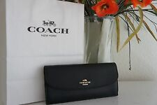 NWT COACH F54008  BLACK CROSS GRAIN LEATHER SOFT WALLET