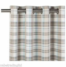 "DUCK EGG CHECK GALLOWAY LINED EYELET CURTAINS 66"" X 72"" BEDROOM LOUNGE DINING"
