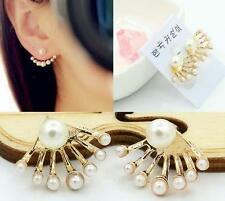 Korean Women Girl Crystal Pearl Ear Studs Front and Back Earrings Gift 1 Pair