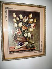 Home Interiors Picture Flowers Tulips Schwarzbek HOMCO Gold & Silver Frame