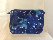 Estee Lauder blue & turquoise leaf print makeup cosmetics wash bag