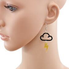 Ohrring Wolke Blitz Anhänger Charme Earring Drop Dangle Baumeln Haken Ohrschmuck
