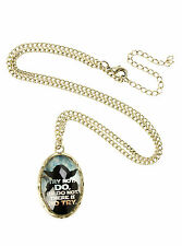 "Star Wars Jedi YODA ""TRY NOT DO or DO NOT"" Quote Oval Cameo Charm Necklace NEW"
