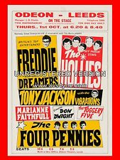 "The Hollies / Freddie Dreamers Leeds Odeon  16"" x 12"" Photo Repro Concert Poster"