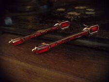 Vintage Butler & Wilson Ruby Red Baguette Crystal Long Drop Earrings
