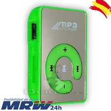 Lector Reproductor Mp3 Player Mini Usb Clip de Espejo Micro SD Hasta 32GB Verde