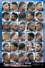 KJ001 Large Format Barber Poster w/30 Styles & Cuts for African American Men