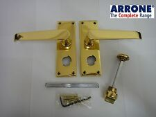 ARRONE VICTORIAN STRAIGHT LEVER LOCKABLE BATHROOM PRIVACY HANDLES POLISHED BRASS