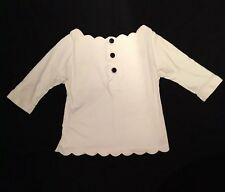 Womens - JILL STUART - Mlle. Lace Stencil Collar & Hem Big Button Shirt Blouse S