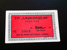 Local note- Bosnia- Saraevo- 100 Dinara 1980s, Tp Unikonzum - stamp !