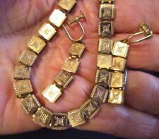 "Book Chain Necklace-Earrings Set-12K GoldFill-15"" L Chain-Victorian-VTG. ANTIQUE"