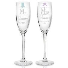 El Sr. y la Sra. Personalizado De Cristal Champagne Flauta Set De Regalo-aniversario de boda.