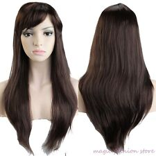 "20"" Long Straight Full Head Wigs Prom Party Synthetic Fiber Wig Mix Brown Auburn"