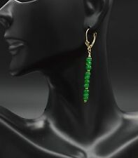 #BE210 New 14K Solid Yellow Gold Natural Green Quartz Stick Leverback Earrings