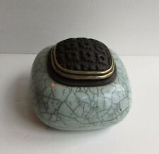 Studio Pottery Raku Fired Crackle Treasure Jar in Celadon Green Artist Signed