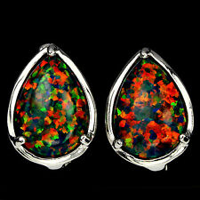 Sterling Silver 925 Genuine Lab Created Rainbow Lustre Opal Stud Earrings