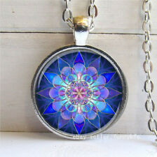 Vintage Purple Lotus Cabochon Silver plated Glass Chain Pendant Necklace #45