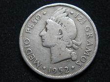 REPUBLICA DOMINICANA , 1/2 MEDIO PESO DE 1952 . PLATA