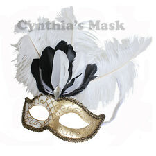 White/Gold Venetian Masquerade w/ Ostrich Feather Mardi Gras Costume Party Mask