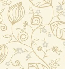 Wallpaper Designer Modern Tan Leaf Vine and Silver Flowers on Cream