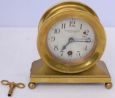 Antique S.A. Mac Queen & Co Ships Brass desktop Clock Working key heavy