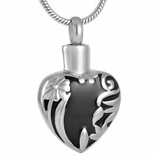 Stainless Steel Heart Cremation Pendant Urn Jewelry Holds Pet Human Ashes Black