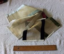 Rare Lot Of Five French Antique Gold Lamé Silk Velvet Ribbon Samples c1907