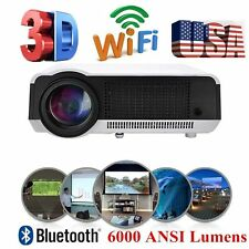 6000Lumen WIFI Wireless 3D HD 1080P Home Theater HDMI Projector Android 4.4