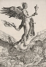 Albrecht Durer Nemesis Winged Godess Figure Engraving Fine Art Real Canvas Print