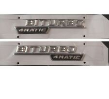 "Chrome "" BITURBO 4MATIC "" Letters Trunk Emblem Sticker 2pcs for Mercedes Benz"