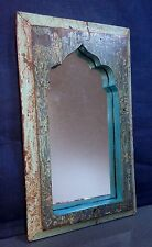 ANTIQUE/VINTAGE INDIAN MUGHAL ARCH TEMPLE MIRROR. DUCK EGG BLUE, SAGE & TEAL.
