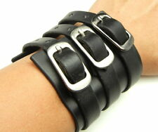 TEW164 -3 Buckles Black Leather Short Bracer Arm Armor Cuff Wristband Bracelet