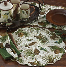 Walk In The Woods ~ Pine Cones Cotton Round Placemat ~ Quilted