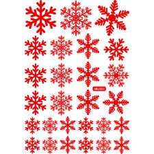27 Snowflake Window Clings Reusable Vinyl Stickers Christmas Decorations 2 Color