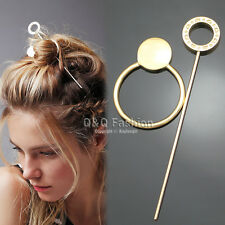 Gypsy Gold Hoop Disc Hair Slide Ponytail Bun Holder Pin Clip Dress Stick Boho