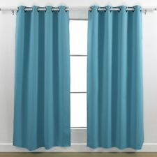 2 TURQUOISE PANEL MICROFIBER BLACKOUT GROMMET WINDOW CURTAIN K92 84""
