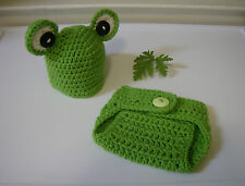 Newborn Baby Green Froggie Beanie and Diaper Cover- Hand Crochet- Photo Prop
