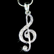 w Swarovski Crystal TREBLE g CLEF Musical music NOTE Pendant Charm Necklace Xmas