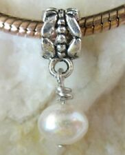 30pcs White Pearl Bead dangle for charm bracelet W7414