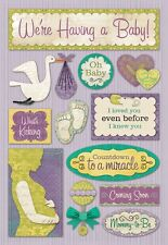 KAREN FOSTER DESIGN WE'RE HAVING A BABY PREGNANCY CARDSTOCK SCRAPBOOK STICKERS