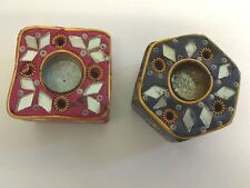 2 Cone Incense Burners Clay With Copper Wire & Mirror Thai Balinese India