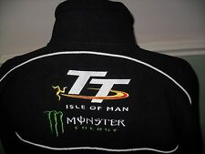 TT ISLE OF MAN BIKER MONSTER ENERGY FLEECE JACKET TOP GEN M BLACK SPRING ATTIRE
